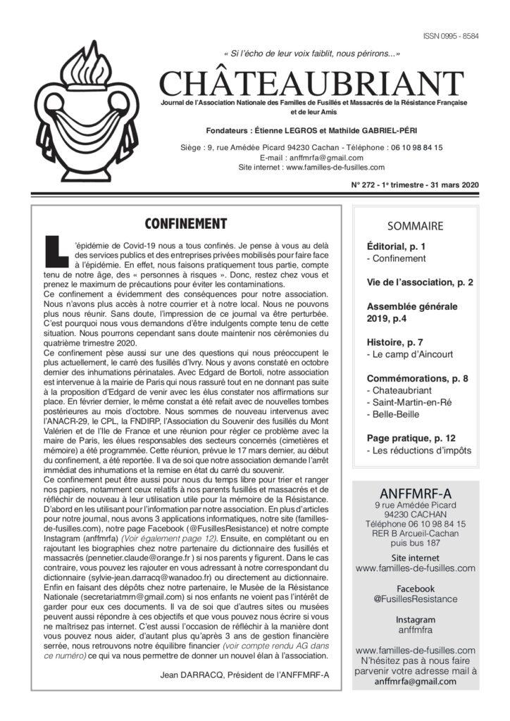Parution du N°272 de Châteaubriant
